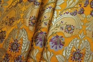 Heavy Banaras Brocade - Yellow / Lilac