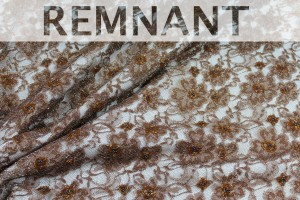 REMNANT - Light Brown Beaded Floral Lace - 2.8m piece