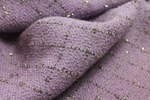 Wool Boucle - Pastel Lilac with Glitter Check