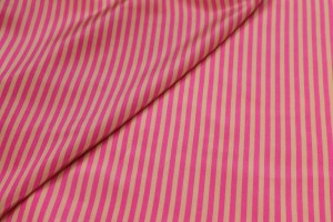 Small Stripe Print Silk Crepe de Chine - Pink and Gold