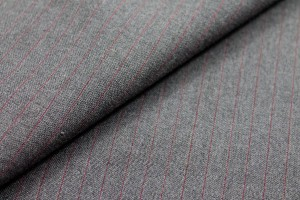 Wool Suiting - Grey with Burgundy Pinstripe