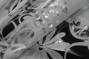 Floral Printed Clear Plastic - Off White
