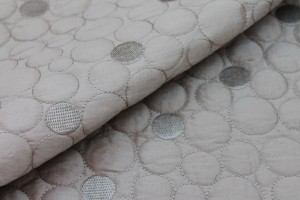 Quilted Silk Dupion - Oyster Circles