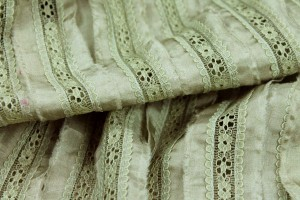 Lightweight Silk and Lace Stripe - Sage Green