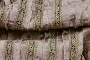 Lightweight Silk and Lace Stripe - Light Brown