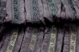 Lightweight Silk and Lace Stripe - Black