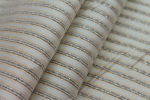 Striped Brocade - Beige Cream & Blue