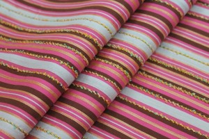 Striped Brocade - Pink Grey & Maroon