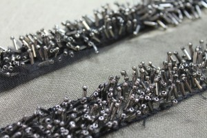 3D Beaded Tulle Trim - Silver/Black