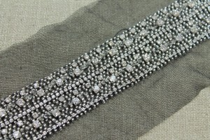 Silver Glass Bead and Diamante Trim