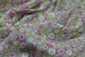 Floral Printed Viscose Chiffon - Pinks and Greens