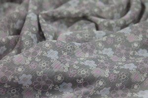Floral Printed Viscose Chiffon - Pinks on Grey