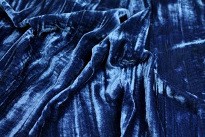 Crushed Viscose Velvet - Blue