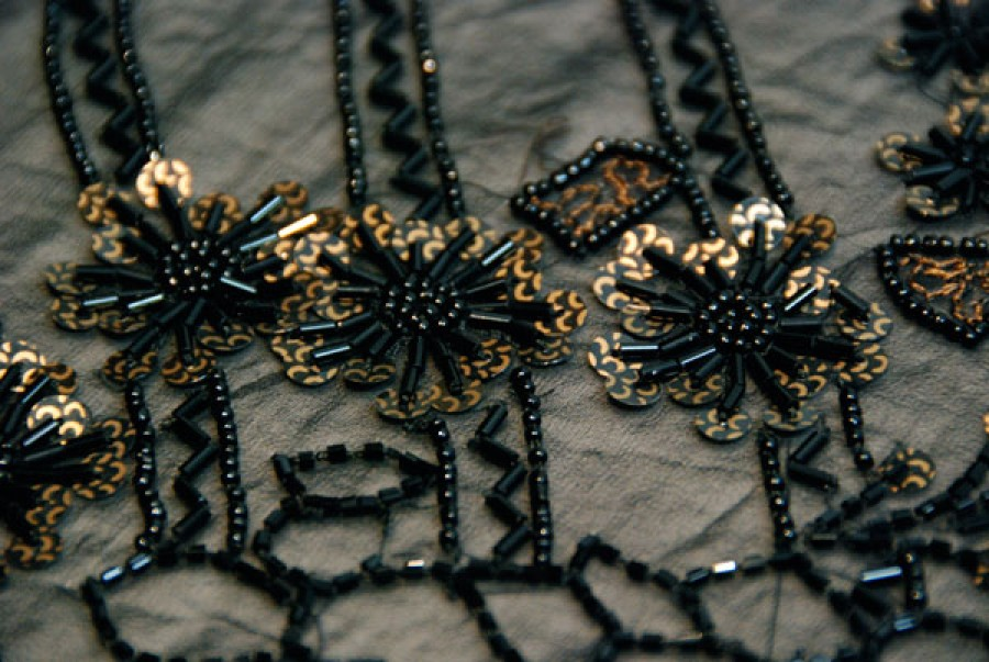 Black Embroidered Chiffon Floral Bugle Bead