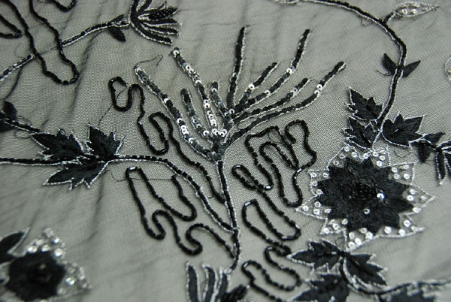 Black floral embroidered tulle silver metallic sequin and beading