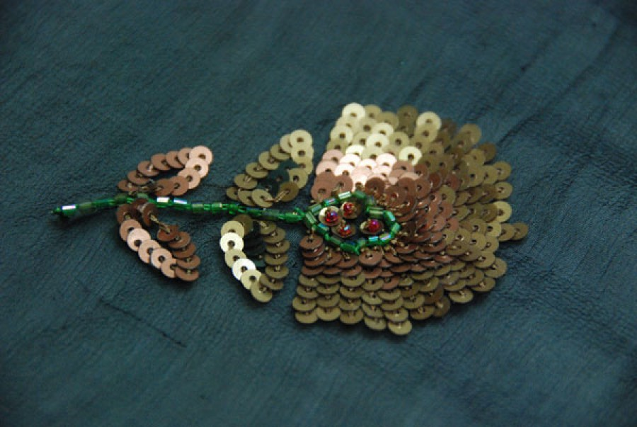 Black chiffon with green and bronze bugle bead and sequin flower