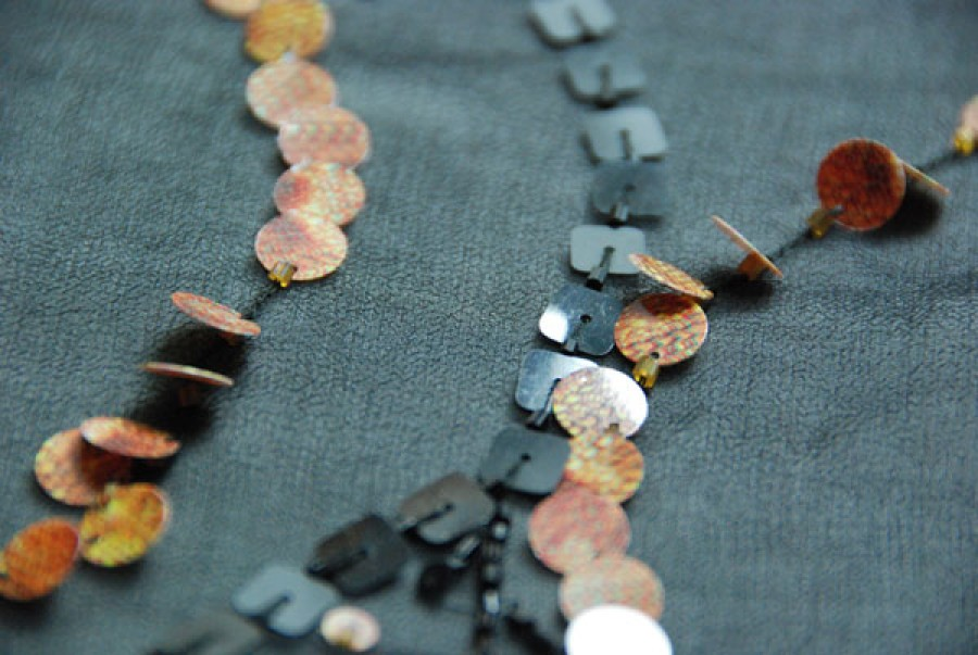 Black chiffon with snake print sequin, black square sequin and bugle bead leaf patterns