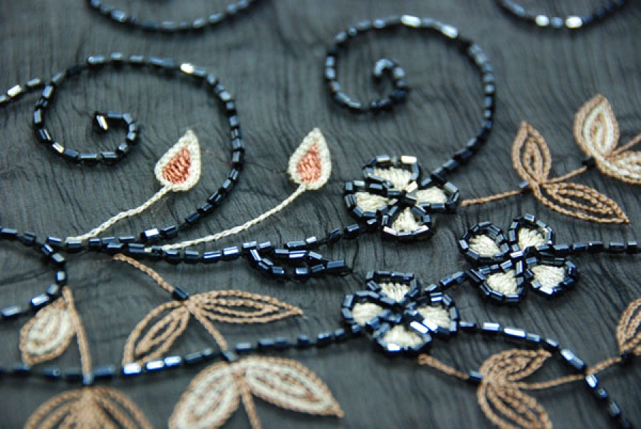 Black chiffon with brown and cream floral embroidery bronze thread and gun metal bugle beads