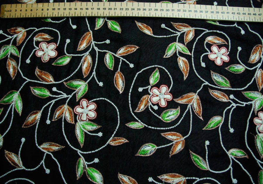 Black chiffon with leaf embroidery and pearl beads