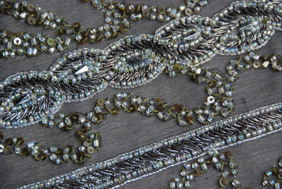Brown chiffon with brown/metallic silver embroidery plus beading in a twist/plait pattern