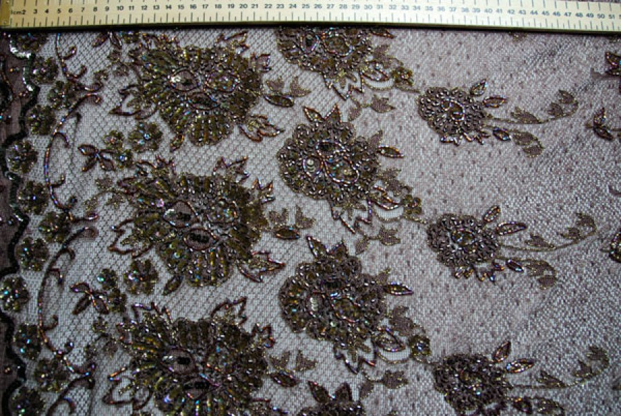 Brown floral graduated lace with metallic gold embroidery and round sequins plus iridescent brown bugle beads