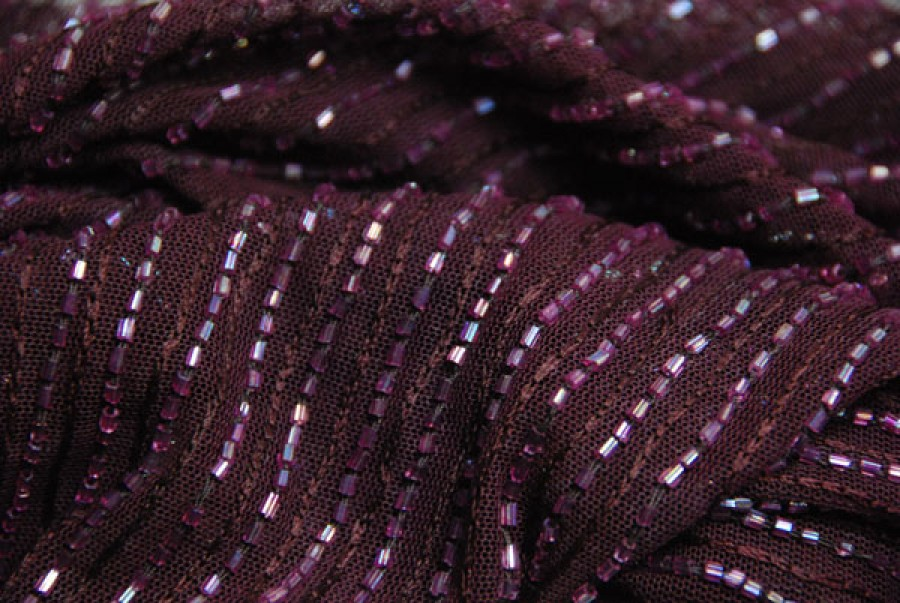 Purple tulle with purple embroidery and bugle bead stripes
