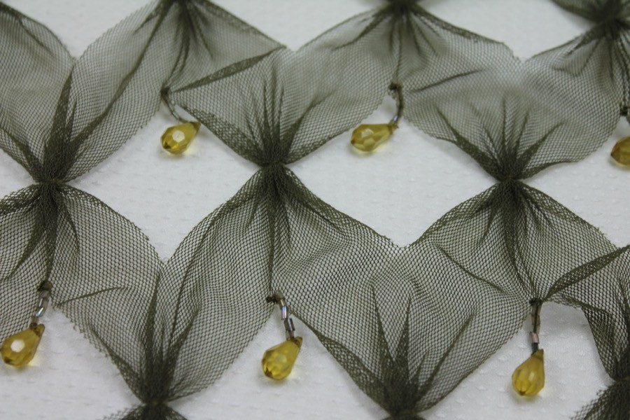 Khaki/olive tulle with cut out pattern, plus teardrop beads and bugle beads