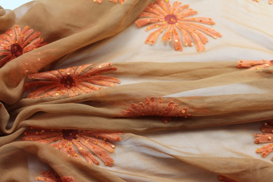 Tan/orange chiffon with large embroidered flowers