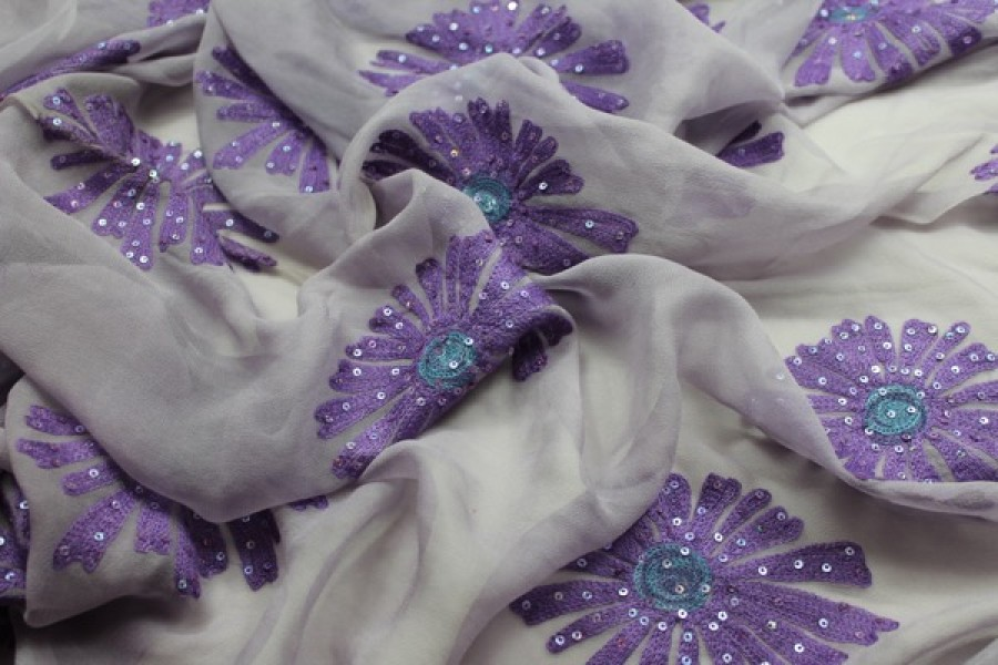 Lilac chiffon with large embroidered purple flowers and small round holographic sequins