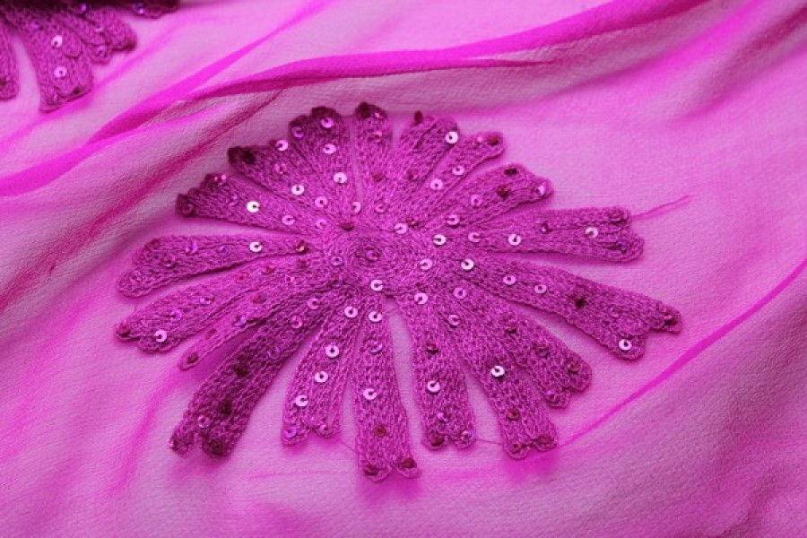 Bright pink chiffon with large embroidered flowers, and small round holographic sequins