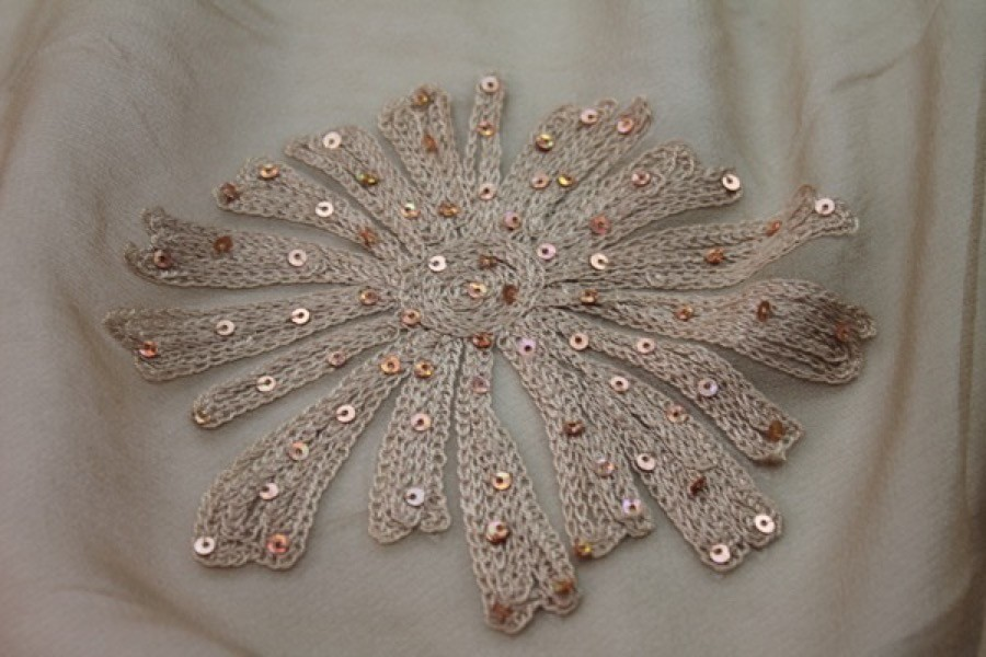 Beige chiffon with large embroidered flowers and small holographic round sequins