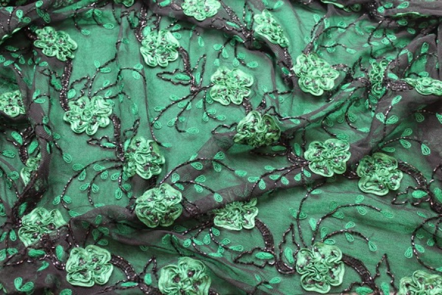 Photographed on green fabric background