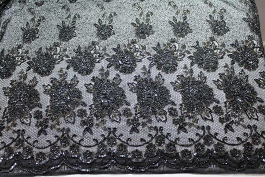 Black lace mesh with beading and sequins