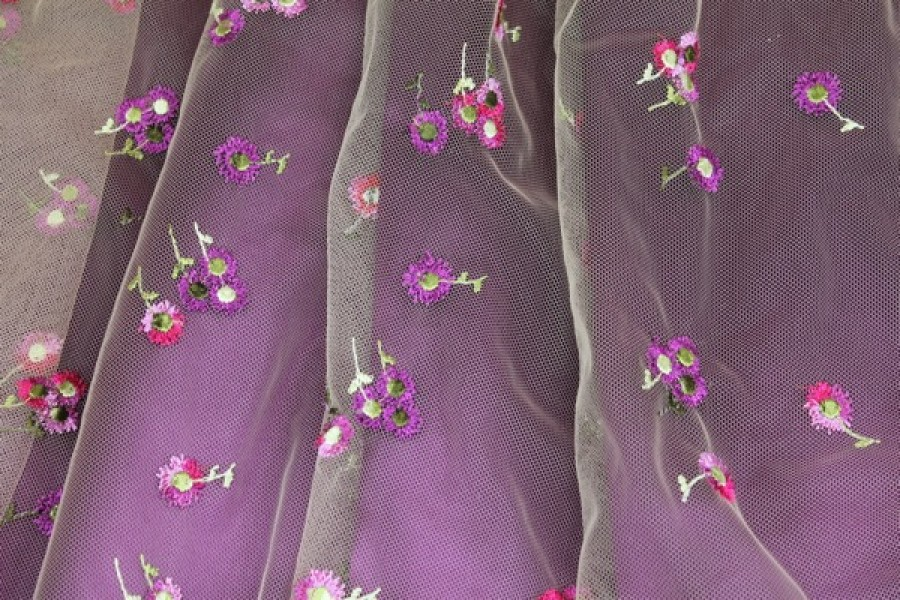 Photographed on a purple background fabric