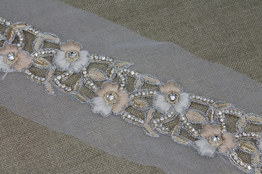 592660eb77 Floral Embroidered Cut-out Trim with Crystals, Beads, Metal Work and Pearls  - Ivory/Blush