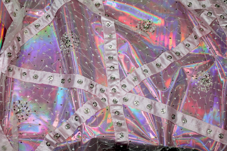 Photographed on our pink holographic PVC, SKU 3081