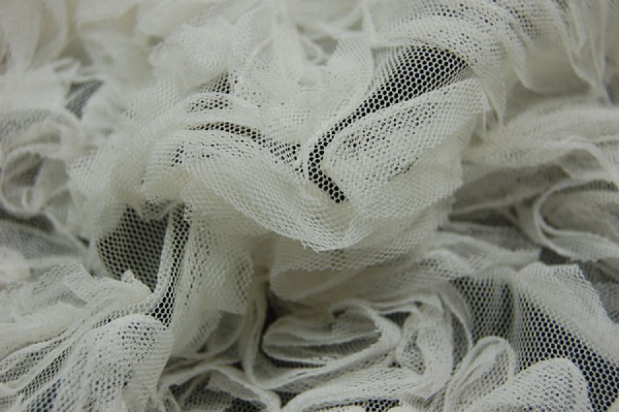 Ivory tulle, in gathered flowers
