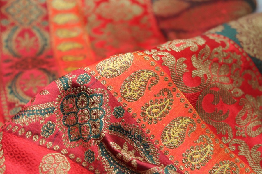 Embroidered Brocade Fabric Paisley Print// Bottle Green,High Quality 112 cm Wide