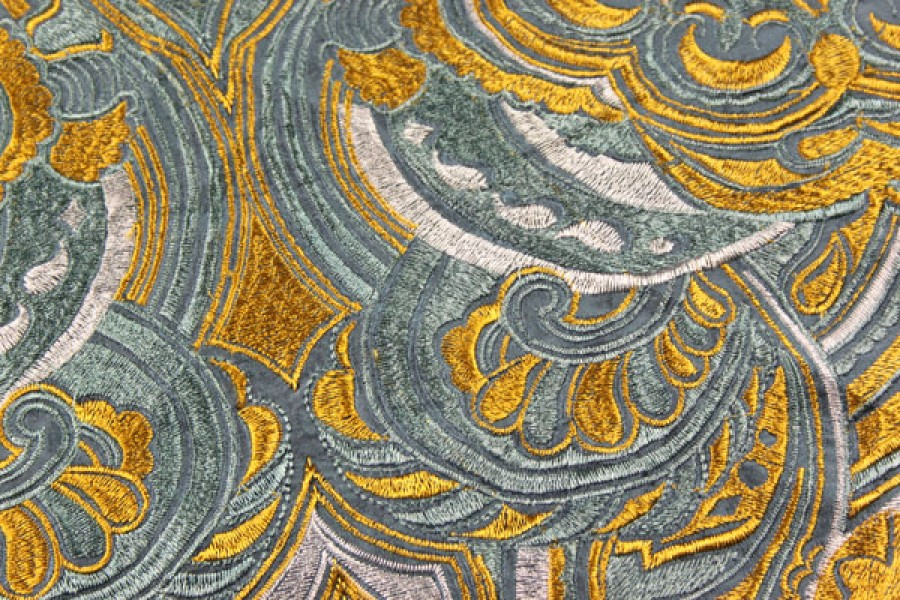 Heavy Swirl Embroidered Dupion - Teal/Gold